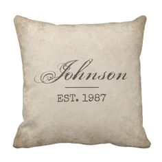 Custom Modern Farmhouse Pillow, Your Last Name & EST Date Throw Pillow, Personalized Country Decor, Vintage style