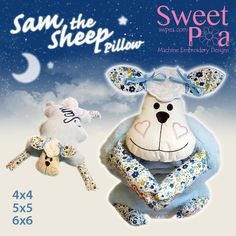 Sam the sheep pillow 4x4 5x5 6x6 ITH in the hoop machine embroidery design