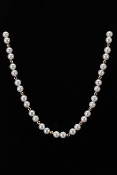 Splendid Pearls 8mm-8.5mm Freshwater Pearl & Bead Necklace In White & Gold :         LOVE Pearls