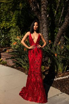 A&N Luxe Ciara Gown - Red Sequins Prom & Formal Gown – A&N Luxe Label Simple V-neck Long A-line Prom Dresses, Cheap Prom Dresses You are in the right Tight Prom Dresses, Gala Dresses, Event Dresses, Wedding Dresses, Party Dresses, Dress Prom, Long Red Dresses, Dress Long, Club Dresses