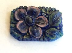vintage glass cabochon Large Czech lapis cobalt blue flower enameled painted detailed carved stone 1930s antique almost 1.5 inches long (1) by a2zDesigns on Etsy Enamel Paint, Stone Carving, Czech Glass Beads, Colored Glass, Blue Flowers, Cobalt Blue, 1930s, Stone Sculpture, Coloured Glass
