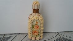 Sticla decorata cu trandafiri--Glass decorated with roses Quilling, The Creator, Roses, Bottle, Glass, Youtube, Home Decor, Decorated Bottles, Crafts With Bottles