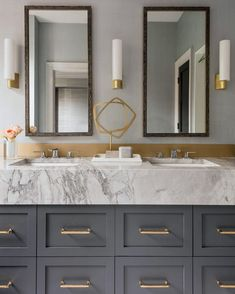 Dark Gray Bath Vanity - Design photos, ideas and inspiration. Amazing gallery of interior design and decorating ideas of Dark Gray Bath Vanity in bathrooms by elite interior designers. Dream Bathrooms, Beautiful Bathrooms, Modern Bathroom, Small Bathroom, Bathroom Bin, Brown Bathroom, Bathroom Shelves, Washroom, 2 Mirrors In Bathroom