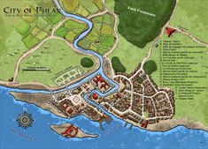 Fantasy Cartography by Sean Macdonald Fantasy City Map, Fantasy World Map, Fantasy Town, Pathfinder Maps, Village Map, Imaginary Maps, Rpg Map, Medieval, Forgotten Realms