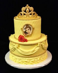 Belle Cake/ Yellow Fondant Work/ Beauty & The Best Theme/ Sugar Roses/ Draping/ Gold Pearls/ Gold Fondant Crown/ Belle Picture Frame/ Fondant Work/ All Edible/ Belle Birthday Cake Beauty And The Beast Cake Birthdays, Beauty And Beast Birthday, Beauty And The Beast Theme, Beauty And The Best, Belle Birthday Cake, Disney Princess Birthday, Birthday Cake Toppers, Fondant Crown, Gold Fondant