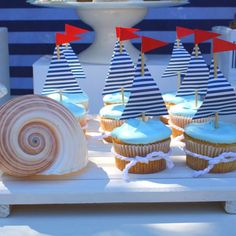 [Inspiration] Nautical Birthday Dessert Table - Spaceships and Laser Beams Love the sail boat cupcakes and table decor Dessert Party, Dessert Table Birthday, Birthday Desserts, Party Desserts, Boy Birthday Parties, Dessert Tables, Birthday Celebration, Birthday Ideas, Ideas Party