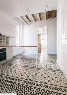 Tiles Serie - Qubba Arquitectes - Renovation to century apartment, Barcelona Source by [post_tags Luxury Homes Interior, Interior Architecture, Interior Design, Interior Ideas, Floor Design, House Design, Best Flooring, Decorating Small Spaces, Hallway Decorating