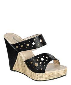 Black Jessie Wedge Sandal #zulily #zulilyfinds