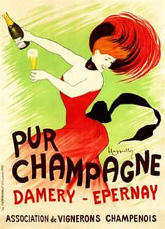 Cappiello Champagne Damery 1902 France  - Beautiful Vintage Poster Reproduction. This vertical French champagne (wine and spirits) advertisement features a woman in a red dress drinking a glass of champagne.