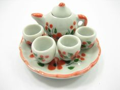 Dollhouse Miniature Ceramic Orange Flower Orchid Paint Tea Cup Set Tea Pot 13246 #Unbranded