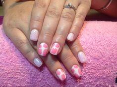 Gels with pink cow print with baby pink glitter