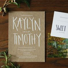 "Brides.com: . ""Kaylyn Suite"" hand-lettered wedding invitation suite on kraft paper, $1152.50 for 100 invitation suites, Allie Ruth Design"