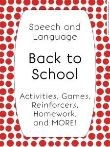 Speechy Musings: Back to School Packet for Speech and Language Therapy. Pinned by SOS Inc. Resources. Follow all our boards at pinterest.com/sostherapy for therapy resources.