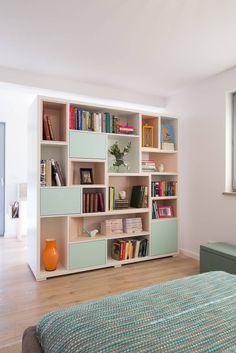 A custom double-sided room dividing bookcase. Living Room Bookcase, Living Room Tv Unit, Living Room Storage, Home Living Room, Home Room Design, Kids Room Design, Home Office Design, Study Room Decor, Room Ideas Bedroom