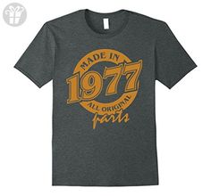 Mens 40th Birthday Gift T-Shirt Made In 1977 - 40 Years Old Shirt 3XL Dark Heather - Birthday shirts (*Amazon Partner-Link)