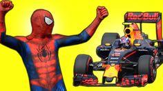 Spiderman Surprise at Car Races - Spiderman in Real Life Superhero Fun