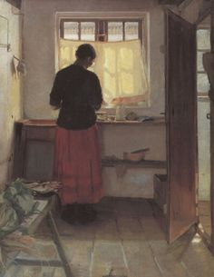 The Maid in the Kitchen, Anna Ancher. Danish Impressionist Painter by margarett Impressionist Artists, Anna, Figure Painting, Painter, Culture Art, Painting, Life Art, Figurative Art, Female Artists