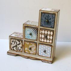 Funky Six Drawer Asymmetrical Trinket Box by BlissfulThinkin, $80.00