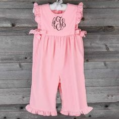 Corduroy Savannah Long Romper Light Pink by Southern Sunshine Kids! Pre-order now for September delivery! #SmockedAuctions