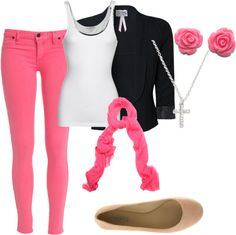 Back-To-School Outfit, Can mix with different color blazer. Blue? And need to get some nude flats!