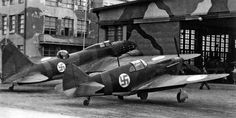 Captured Soviet fighter planes LaGG-3 and bomber Il-4 (DB-3F) at the hangar of an aircraft factory in Tampere. 1943.