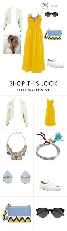"""💛💙🖤"" by tebaz ❤ liked on Polyvore featuring Warehouse, Billabong, Melissa Joy Manning, Prada, Love Couture and EyeBuyDirect.com"