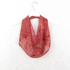 Red Scarf Cotton Scarf Infinity Scarf Sari Scarf by Fibernique