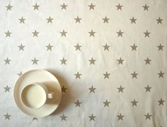 Tablecloth white with beige stars 37x37 or made to by Dreamzzzzz, $15.00