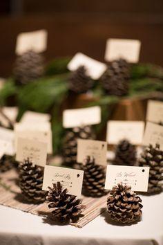 Winter wedding escort card idea - pinecone escort cards {Megan Love Photography}