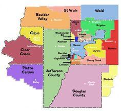 Maps that help you understand Denver and Colorado (Cortez, Aspen: ski resorts, homes) - (CO) - City-Data Forum Colorado River, Denver Colorado, Denver Suburbs, School Boundaries, Zip Code Map, Moving To Denver, Idaho Springs, Denver Area, Douglas County