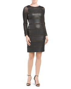 Illusion Faux Leather Dress