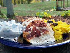 Cinnamon Baked Chicken with Raita Dipping Sauce and Golden Rice - Basilmomma