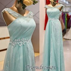 2015 Cute ice blue chiffon open back long prom dress with straps->…