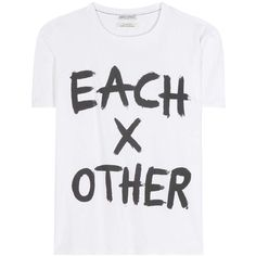 Each x Other Printed Cotton T-Shirt ($91) ❤ liked on Polyvore featuring tops, t-shirts, white, cotton t shirts, white tee, white cotton tee, cotton tees and white cotton tops