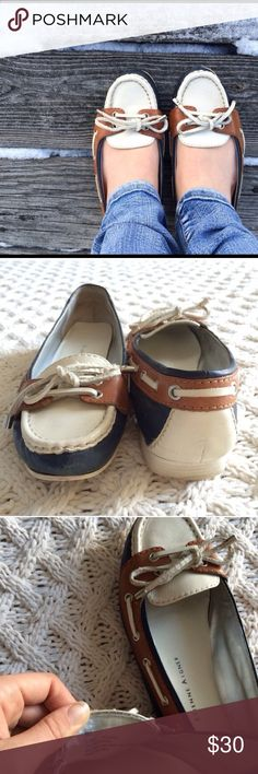 Etienne Aigner leather boat shoes Adorable leather boat shoes size 8. Some minor scuffs in the tips of the toes as seen in photos. Hardly noticeable when worn. Etienne Aigner Shoes Flats & Loafers