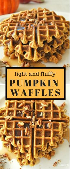 Pumpkin Waffles - 2 Sisters Recipes by Anna and Liz Waffle Recipes, Cream Recipes, Brunch Recipes, Breakfast Recipes, Breakfast Waffles, Fall Breakfast, Perfect Breakfast, Brunch Ideas, Pumpkin Recipes