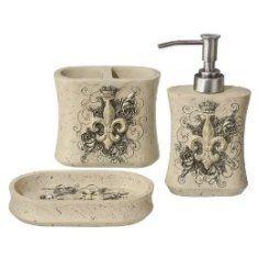 Ivory Fleur De Lis 3 Piece Bath Set Gift Ideas