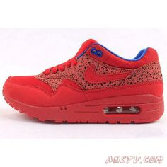 defdff3c6a5b Chaussures Air Max Femme Nike Air Max 87 Rouge Dragon et Bleu Couple Air  Jordan Sneakers