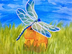 """""""Dragonfly On Amber"""" Paint the perfect party at www.GalleryOnTheGo.com!  #GOTGFun #ArtOfSocializing"""