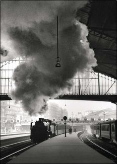 "flashofgod:""Edouard Boubat, Train arriving at the station Saint Lazare, Paris, Robert Doisneau, Black N White, Black And White Pictures, Galerie Creation, Old Paris, Paris Art, First Photograph, Train Travel, Black And White Photography"