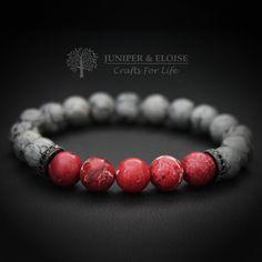 Mens Bracelet, Womens Jewelry,Unisex Bracelet, Gift Bracelet, Gift For Her, Red Bracelet,Gray Bracelet, Stretch Bracelet, Christmas Gift by JuniperandEloise on Etsy