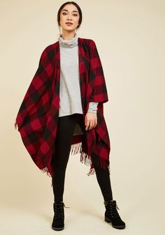 A Snuggling Act Shawl. Caught ya - youve been spotted getting oh-so-cozy with this plaid shawl! #red #modcloth