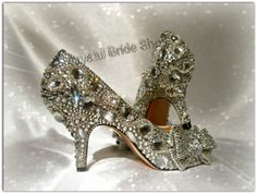 Customer order, customised heels with crystals, embellishments, and diamante trim.