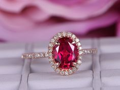 Lab-treated Ruby ring with diamond/ in rose gold/Halo Stacking ring/ Oval shaped Red birthstone gift/Fancy Diana Ring /Claw prong - BBBGEM Diamond Bands, Diamond Wedding Bands, Wedding Band Sets, Wedding Rings, Red Wedding, Handmade Engagement Rings, Morganite Engagement, Ring Set, Bridal Jewelry