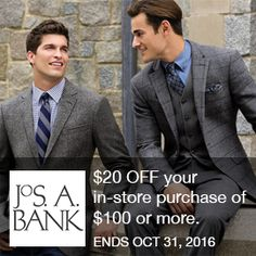 Jos A Bank Coupon  $20 OFF your in-store purchase of $100 or more. Valid through 10/31/16.  Brought to you by http://www.imin.com and http://www.imin.com/store-coupons/jos-a-bank