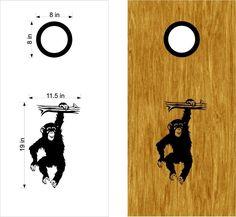 Monkey Chimp Hanging Around Cornhole Board Vinyl Decal Sticker Graphic Custom Text Bean Bag Toss
