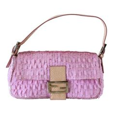 87f67f0b37db Fendi Baguette Bag Pink Paillettes Exotic Skin Handle Vintage