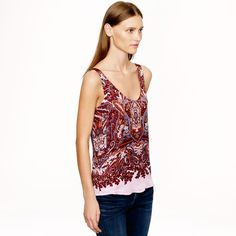 J. Crew 100% silk purple paisley top Excellent used condition--only worn once! J. Crew Tops Tank Tops