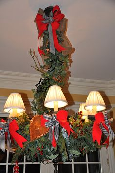 Christmas, Kitchen chandelier, cookie cutters, bows, garland