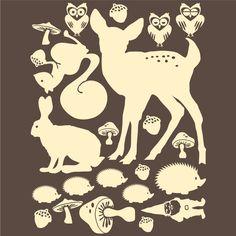 woodland animal silhouette vinyl wall decals - $18